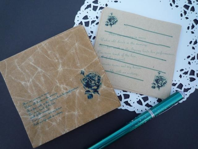 メッセージカード10枚と蝋引き封筒10枚のセット(薔薇)