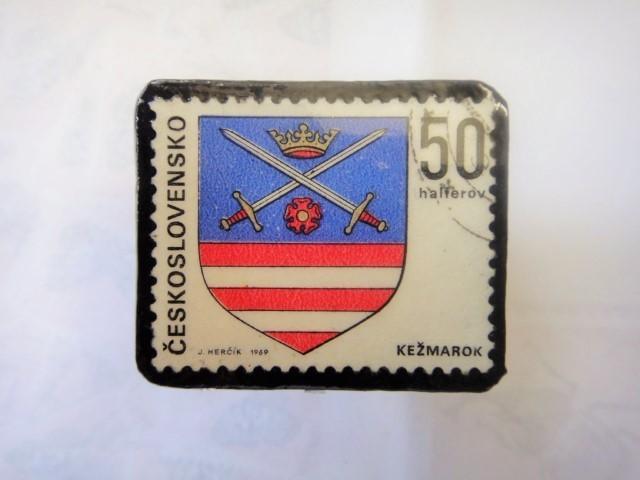 チェコスロバキア 切手ブローチ1310