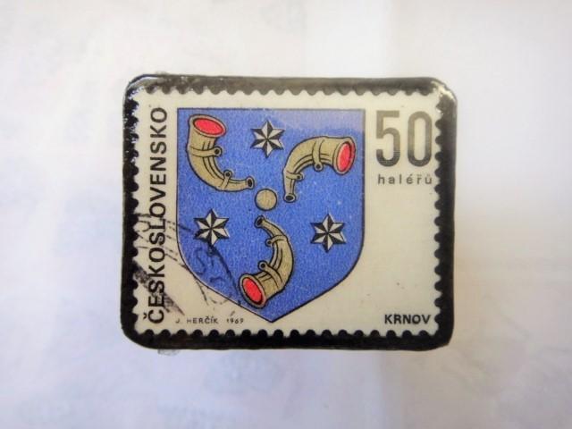 チェコスロバキア 切手ブローチ1312