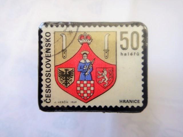 チェコスロバキア 切手ブローチ1313