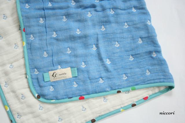出産祝いに♪マリンの6重織ガーゼケット 海でお昼寝