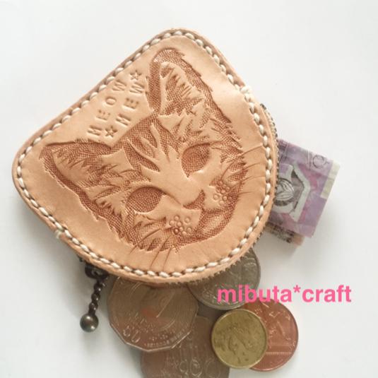 ネコちゃんのカービング コインケース