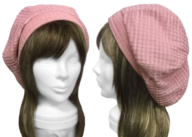 変り織コットンニット/リブ付ベレー帽(ゆったり)◆ピンク