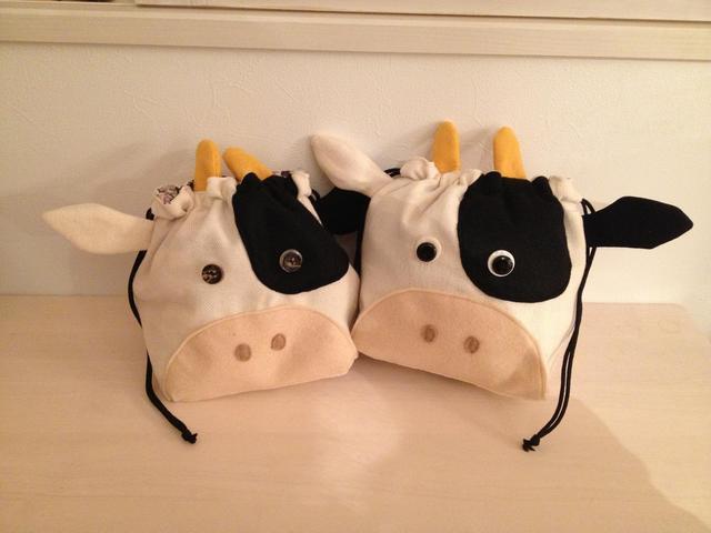 牛さんのお弁当袋♪