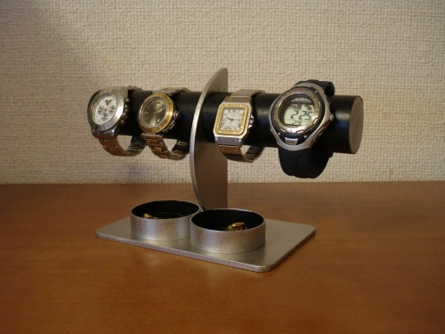 ブラックダブル丸トレイハーフムーン4本掛け腕時計スタンド