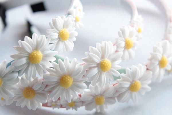 再☆お花畑のカチューシャ(パステルグリーン)