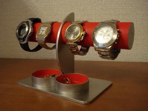 レッド4本掛けダブル丸パイプ腕時計スタンド