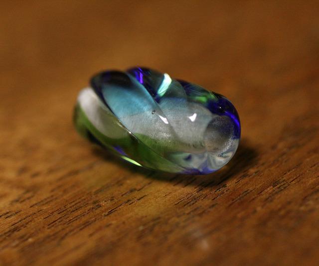 glass beads (とんぼ玉)クリア青・緑・水色/みかん玉