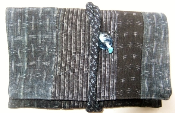 着物リメイク 上布と夏大島の着物で作った和風お財布 1627