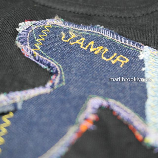 ワンチャン デニム マッシュルーム ティーシャツ