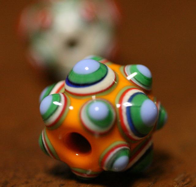 glass beads(とんぼ玉)点眼玉/オレンジ