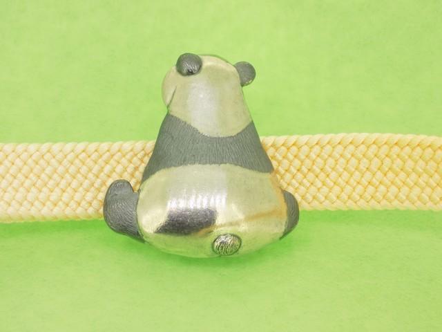銀細工帯留 うしろパンダ【送料無料です】
