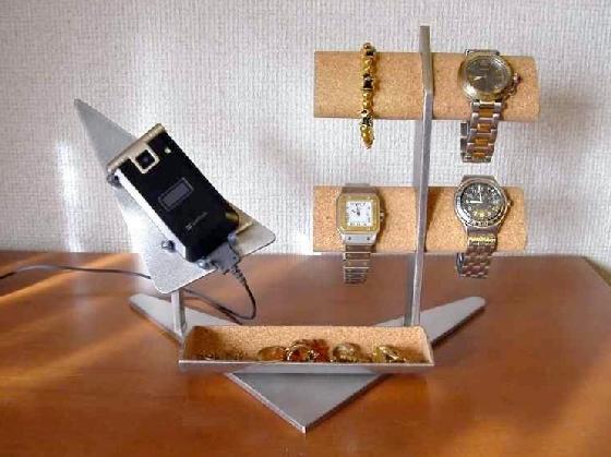 携帯電話&4本腕時計掛けトレイ付きスタンド