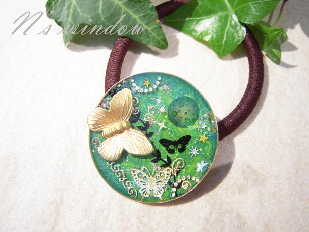 森と蝶のヘアゴム