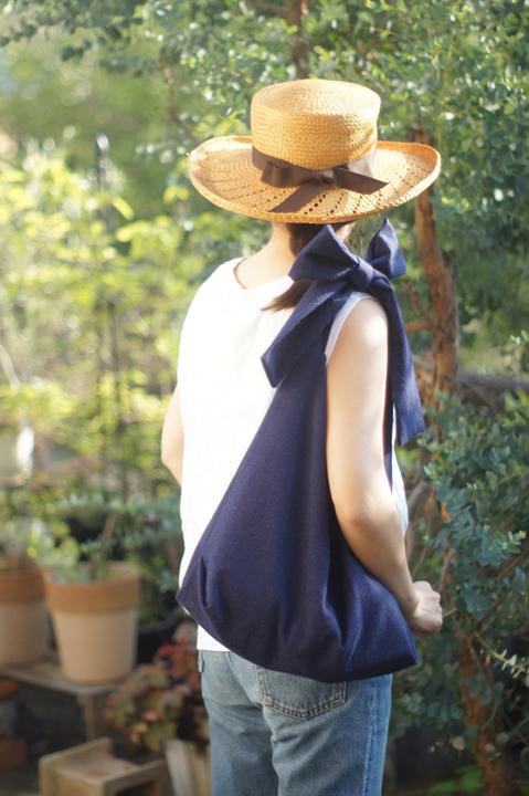 【再販】綿麻リボンのバッグ(ブルーネイビー)