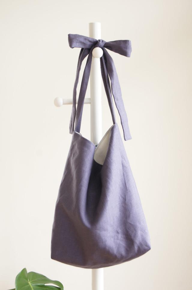 リネンリボンのバッグ(すみれグレー)