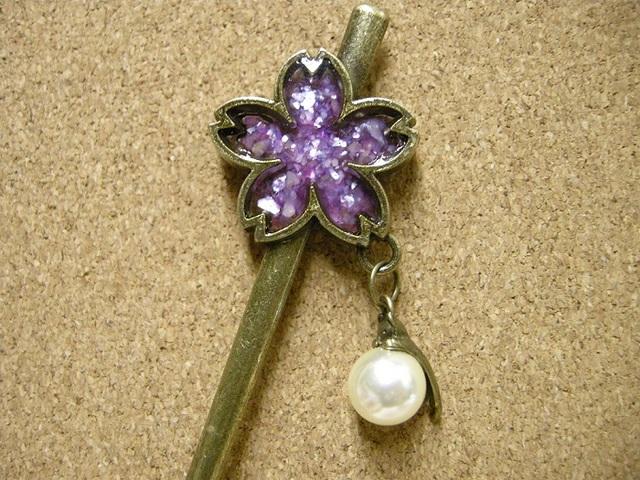 *桜と猫の簪 紫ver.*