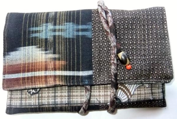着物リメイク 大島紬と綿の着物で作った和風お財布 1634