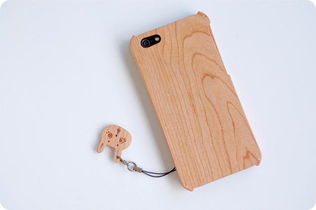 iPhone SE/5/5s ウッドケース チェリー ストラップホール付