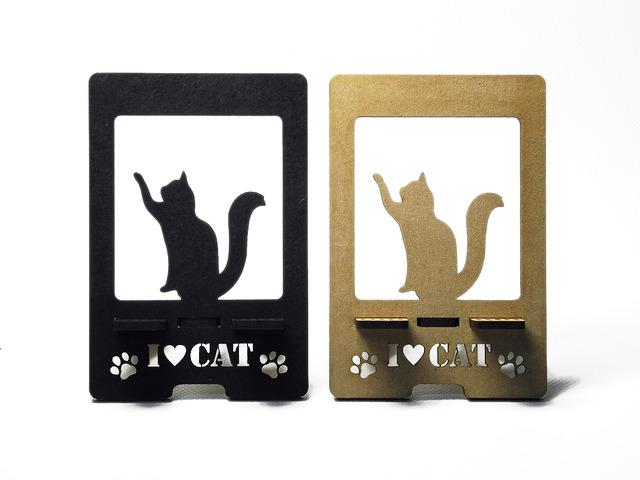 【送料 黒加工¥180】 スマートフォン&Iphone用スタンド 【おねだり猫(ネコ)】