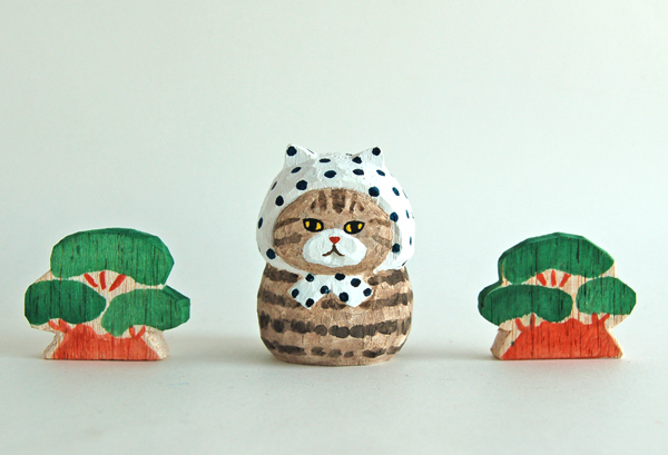 木彫り人形ねこ 豆絞りにゃん [MWF-192]