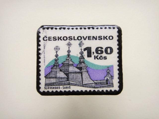 チェコスロバキア 切手ブローチ1317