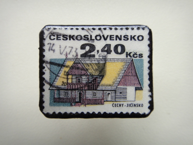 チェコスロバキア 切手ブローチ1319