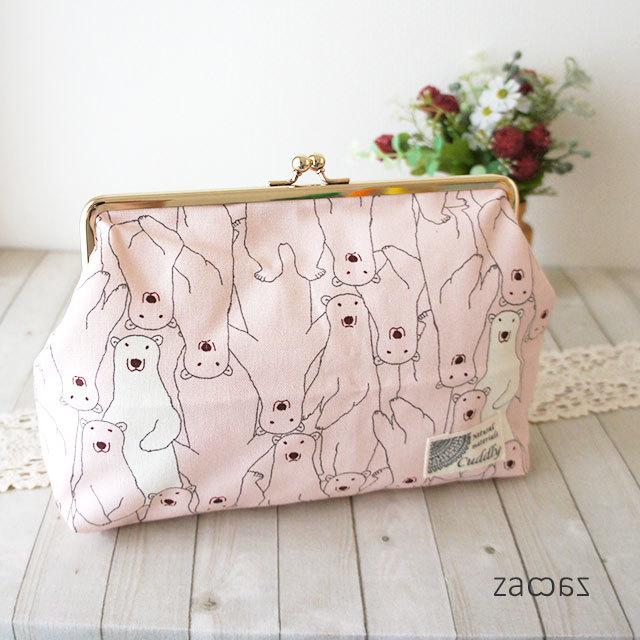 【販売終了】がま口通帳ポーチ*白クマさん*ピンク