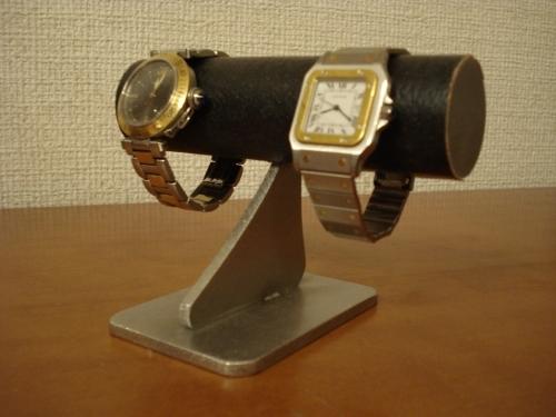 ブラック2本掛けどっしり安定腕時計スタンド