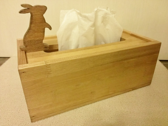 ☆受注製作☆ウサギが遊ぶ木製ティッシュケース☆MW