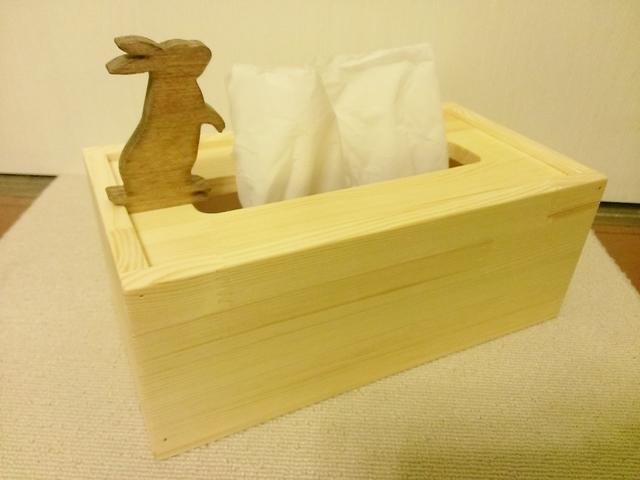 ☆受注製作☆ウサギが遊ぶ木製ティッシュケース☆ナチュラル