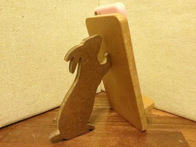 ウサギが支える携帯・スマホスタンド ナチュラル