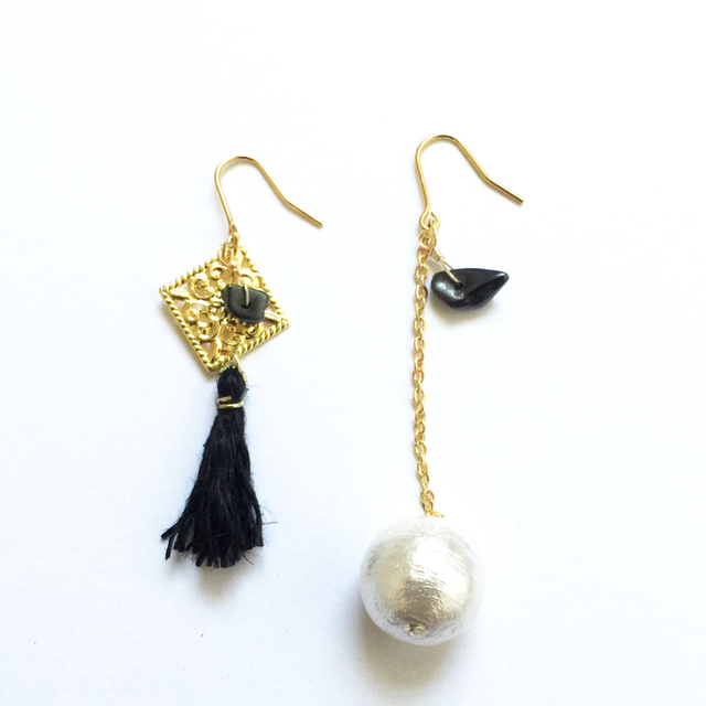 cottonpearl × tassel pierce【Black】