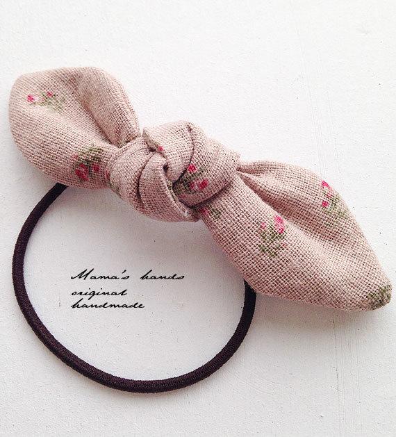 ピンク 小花 リネン リボン ヘアゴム♪