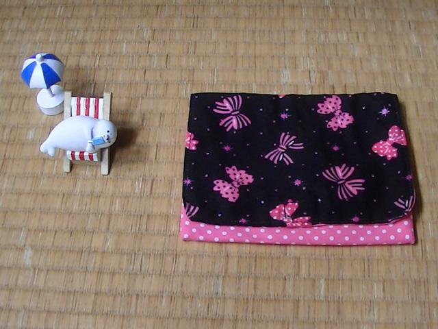 ★サマーセール★ 移動ポケット(リボン柄×ピンク色ドット) ※クリップ無し