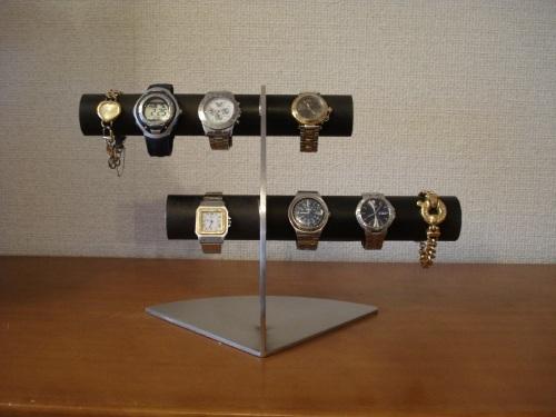ブラック 6本掛けデザイン腕時計スタンド★太めパイプ