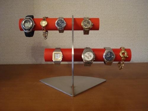 レッド 6本掛けデザイン腕時計スタンド★太めパイプ
