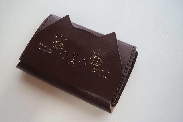 ねこのお顔 名刺入れ(カードケース)栃木レザー チョコ