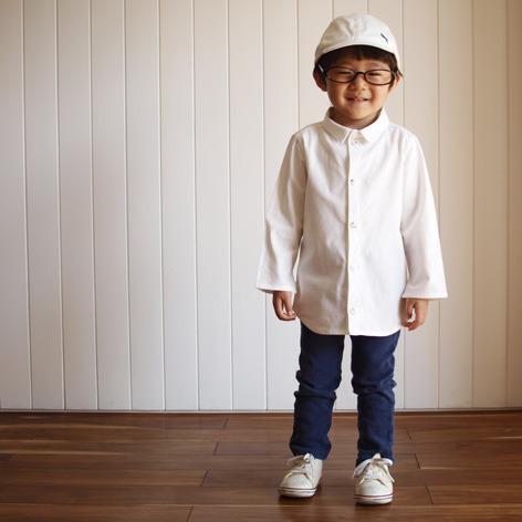 子供のシンプルシャツ 白100