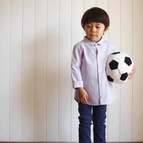 子供のシンプルシャツ 紫ストライプ100