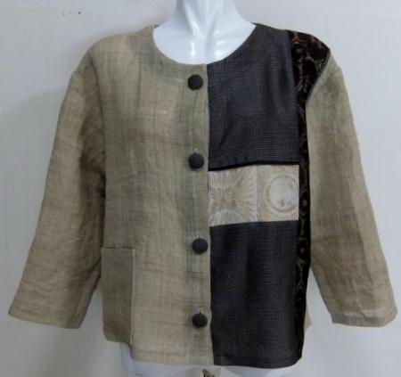 着物リメイク 麻の湯上りのサマージャケット 1642