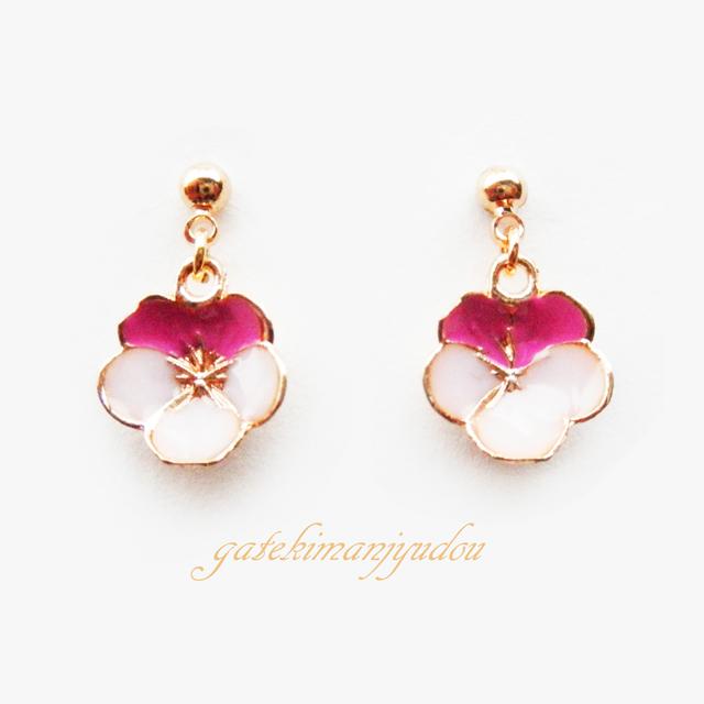 2色の小さな花のピアス【イヤリング変更可】