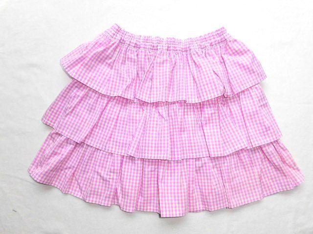子供用フリルスカート・110〜120/ピンクチェック【wear1】