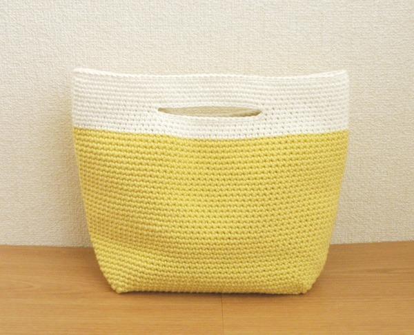【受注製作】コットン編みのトートバッグ <れもん>