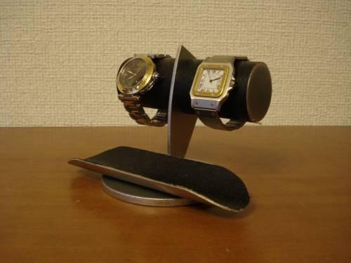 誕生日プレゼントに!2本掛けブラック腕時計スタンド ロングトレイ付き ak-design