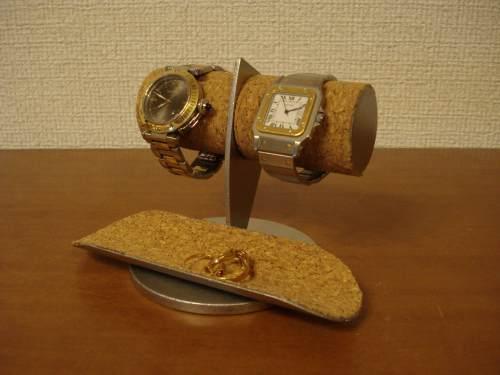 誕生日プレゼントに!2本掛けトレイ付き腕時計スタンド