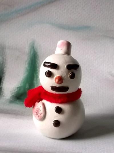 雪だるまカード立て