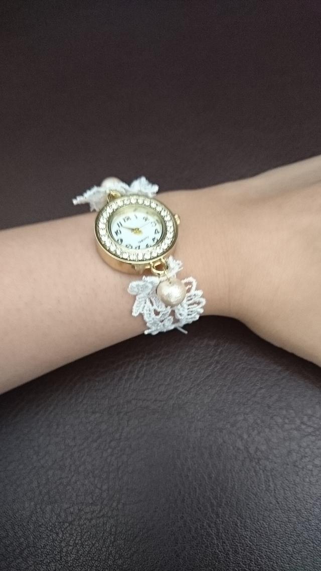 レースとコットンパールのブレスウォッチ 腕時計 ブレスレット