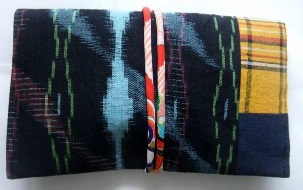 着物リメイク 絣と土佐紬で作った和風財布 1648