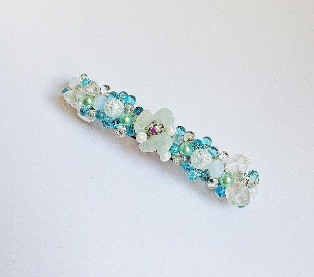 青いお花のバレッタ